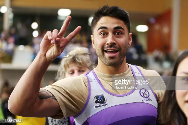 Rugby league player Shaun Johnson poses during the ANZ Premiership Netball Final between the Pulse and the Stars at Te Rauparaha Arena on June 03...