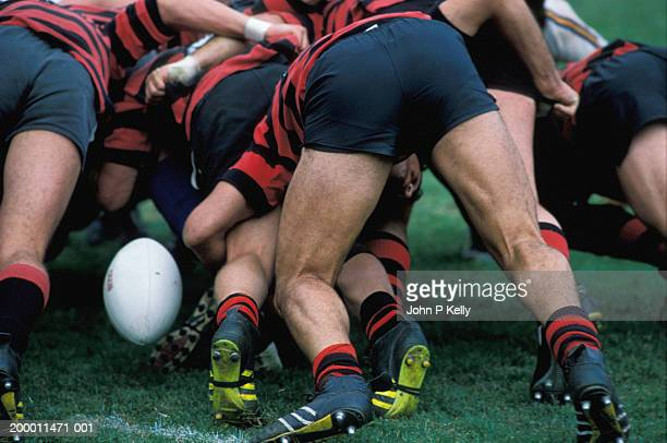 rugby league players in scrum - rugby league stock pictures, royalty-free photos & images