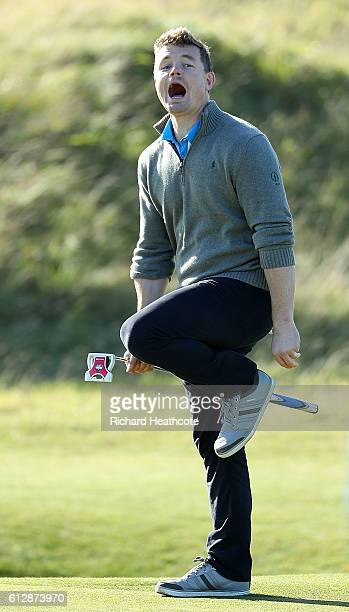 Rugby legend Brian O'Driscoll of Ireland plays during a practice round at the Alfred Dunhill Links Championship at Kingsbarns Golf Links golf course...