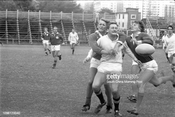 A rugby match between the Police team and the visiting Sports Club Germania of Hannover 21SEP77