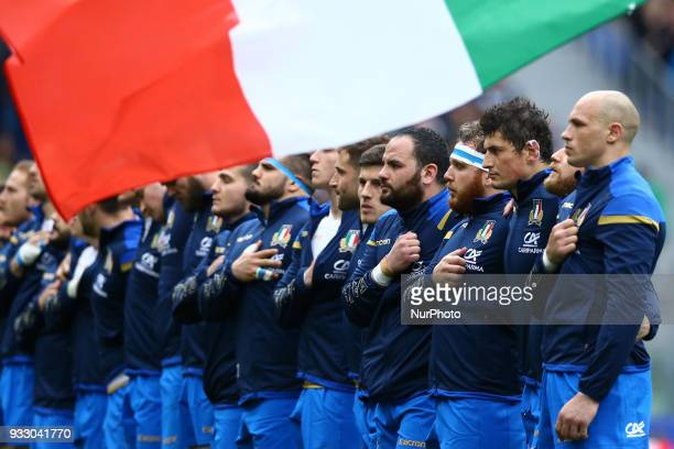 Italy v Scotland Sergio Parisse of Italy and the teammates during the national anthem at Olimpico Stadium in Rome Italy on March 17 2017