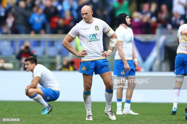 Rugby NatWest 6 Nations: Italy v Scotland The disappointment of Italy captain Sergio Parisse at Olimpico Stadium in Rome, Italy on March 17, 2017.