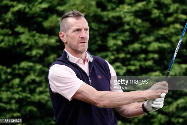 Rugby personality Will Greenwood in action during the ProAm ahead of the Staysure PGA Seniors Championship at Formby Golf Club on July 28, 2021 in...
