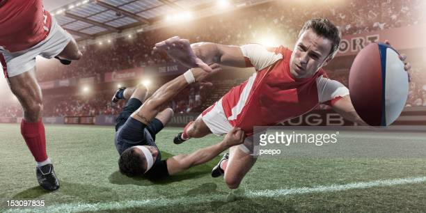 rugby player about to score - rugby union stock pictures, royalty-free photos & images