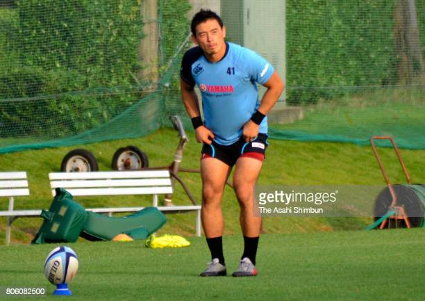 Rugby player Ayumu Goromaru in action during a training session on July 3 2017 in Iwata Shizuoka Japan