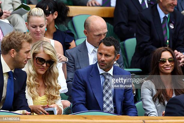 Rugby player Chris Robshaw singer Camilla Kerslake football player Ryan Giggs and his wife Stacey Cooke attend the Ladies' Singles third round match...