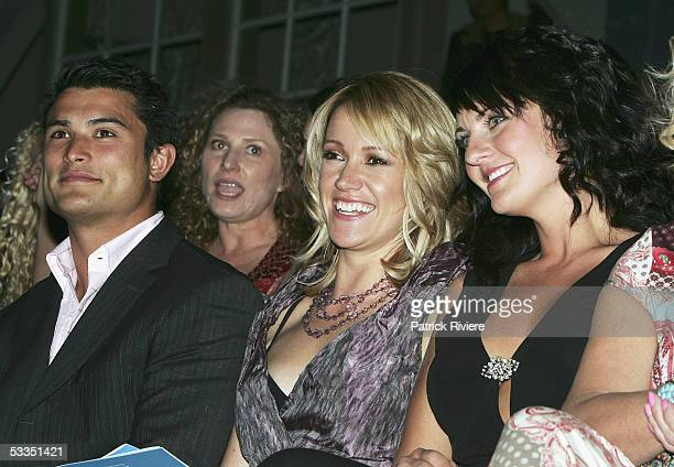 Rugby player Craig Wing TV news reader Leila McKinnon and TV personality SarahMarie Fidele attend the fashion parade for David Jones Summer 2005...