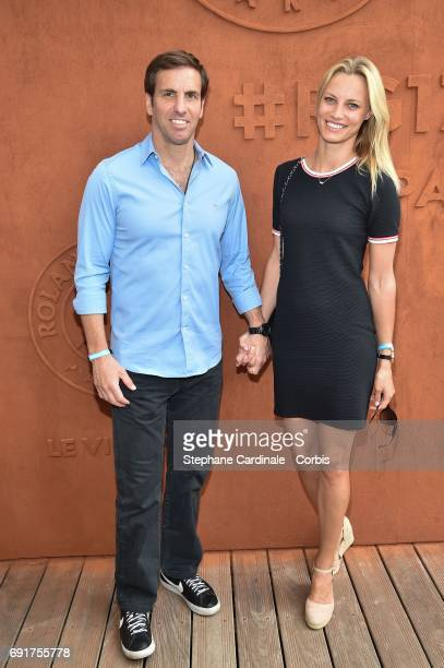 R Rugby player Gonzalo Quesada and Liga Melne attend the 2017 French Tennis Open Day Six at Roland Garros on June 2 2017 in Paris France