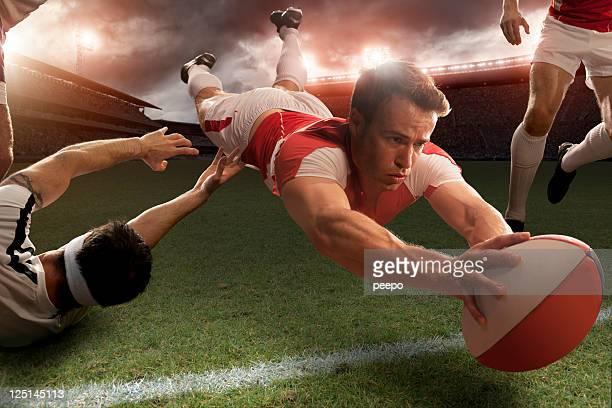 Rugby Player in Mid Air About To Score