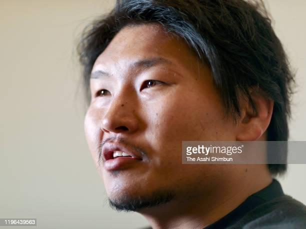 Rugby player Keita Inagaki speaks during the Asahi Shimbun interview on December 12, 2019 in Ota, Gunma, Japan.