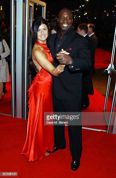 Rugby player Martin Offiah and ballroom dancer Erin Boag arrive at the UK Premiere of Shall We Dance at the Odeon West End on February 16 2005 in...