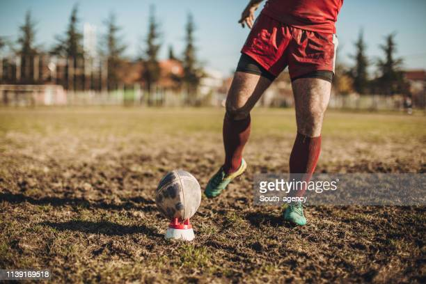 rugby player on a playing field with ball - rugby union stock pictures, royalty-free photos & images