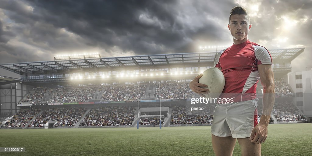 Rugby Player Portrait : Stock Photo