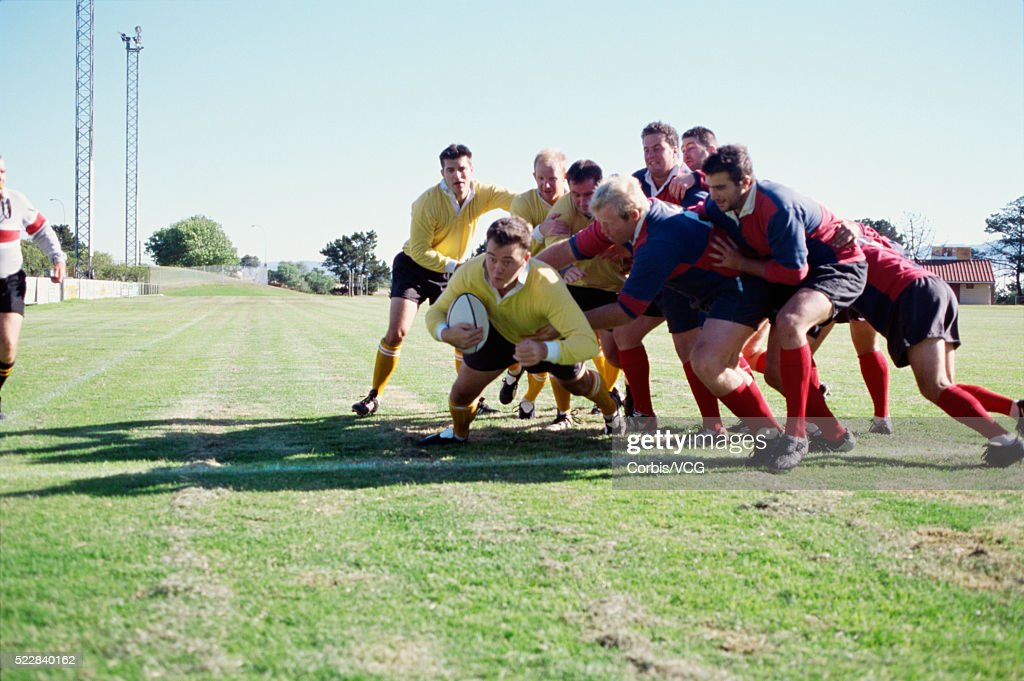 Rugby player scoring a try : Stock Photo