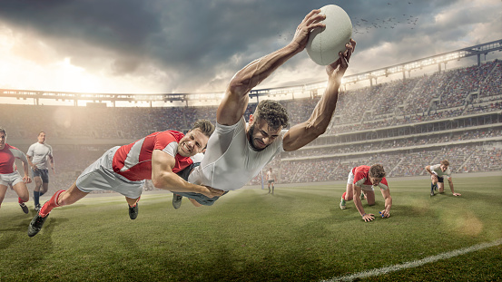 Rugby Player Tackled in Mid Air Dives To Score 542010106