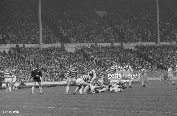 Rugby players in action during the 1970 Challenge Cup Final, Castleford Tigers vs Wigan Warriors, at Wembley, London, UK, 9th May 1970.