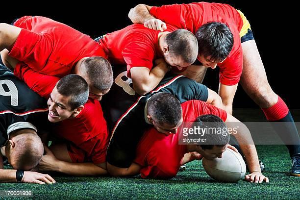 Les joueurs de Rugby en action.