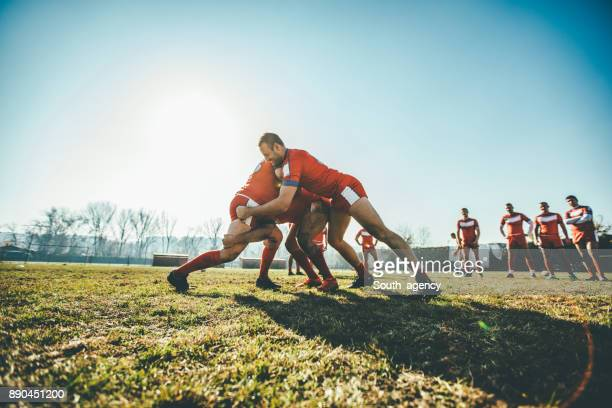 rugby players in action - scrum stock pictures, royalty-free photos & images