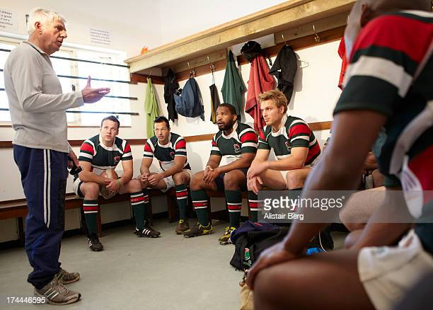 Rugby players in changing room