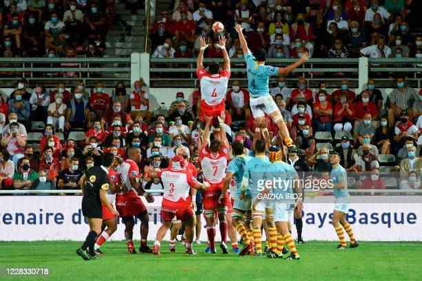 Rugby players jump on a line-out during the first French Pro D2 Championship official rugby match between Biarritz Olympique Pays-Basque and Usap...