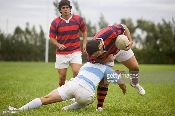 Giocatori di Rugby affrontare