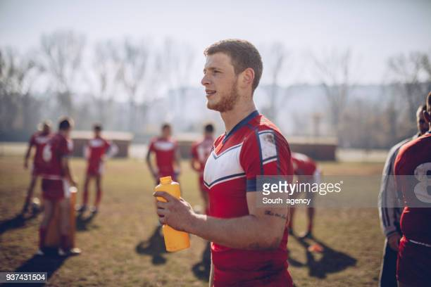 Rugby players taking a break