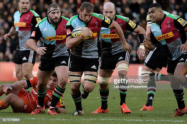 Rugby Premier League Harlequins v Leicester Tigers at the Stoop Twickenham UK Harlequins England Captain Chris Robshaw in action during the match...