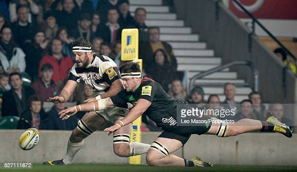 Rugby Premier League rugby The Big Game Harlequins v Gloucester at RFU Twickenham London UK Action from the match Jeremy Thrush scores a try for...