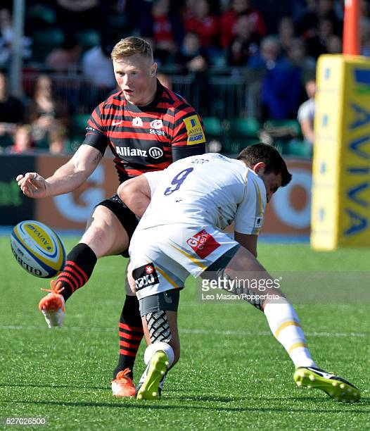 Rugby Premier League Saracens v Worcester Warriors at Alianz Park Hendon London UK Man of the Match Saracens Chris Ashton with the ball Saracens won...