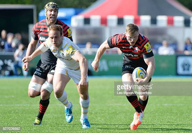 Rugby Premier League Saracens v Worcester Warriors at Alianz Park Hendon London UK Man of the Match Saracens Chris Ashton with the ball