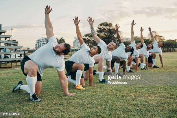 rugby requires its players to build up the momentum - warming up stock pictures, royalty-free photos & images