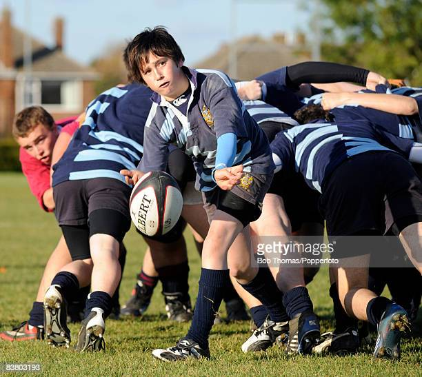 Rugby School Under-16's scrum-half Alex Astley-Jones passes the ball during their match against Stamford School Under-16's in Stamford, 21st October...