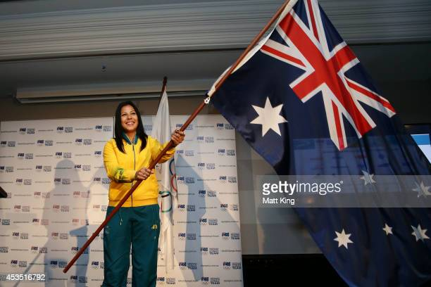 Rugby Sevens player Tiana Penitani is announced as 2014 Australian Youth Olympic Team flagbearer during the Australian Olympic Committee team...