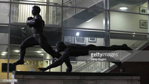 A rugby statue outside of Franklin's Gardens during the Gallagher Premiership Rugby match between Northampton Saints and Sale Sharks at Franklin's...