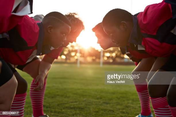 rugby team lined up in front of each other - face off sports play stock photos and pictures