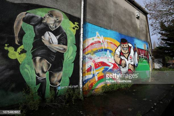 Rugby themed street art is seen as spectators walk to the ground before the Gallagher Premiership Rugby match between Gloucester Rugby and Worcester...
