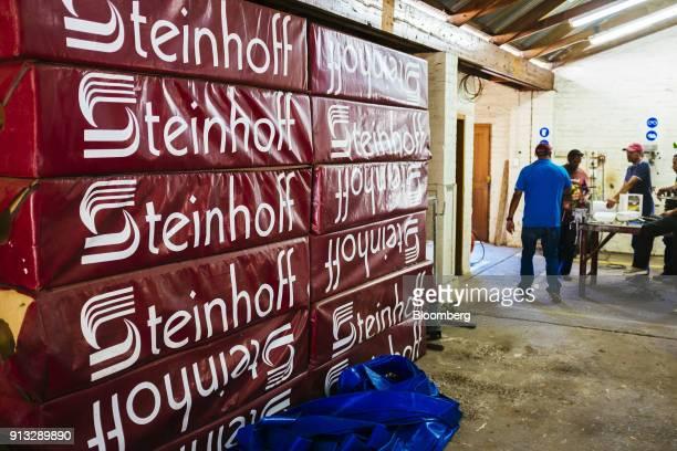 Rugby training shields advertising Steinhoff International Holdings NV sit in storage at the University of Stellenbosch rugby field in Stellenbosch...