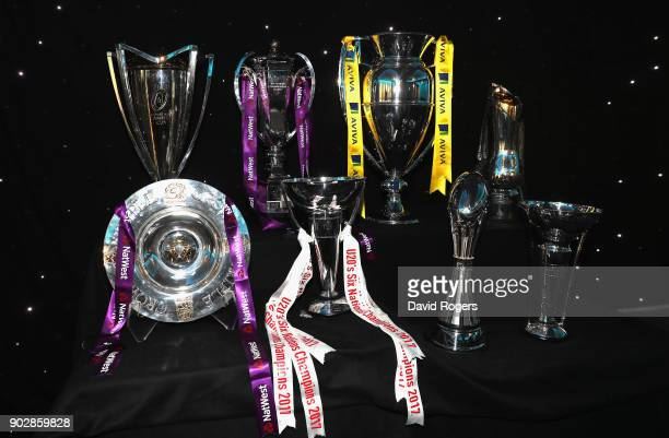 Rugby Trophies during the Rugby Union Writers' Club Annual Dinner Awards at the London Marriott Hotel Grosvenor Square on January 8 2018 in London...