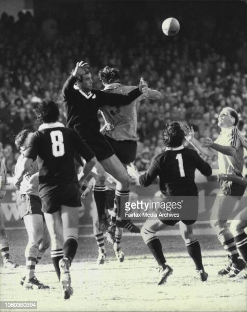 Rugby Union 3rd test at SCGAustralia Vs All BlacksAndy Haden of New Zealand and Peter McLean of Australia go high for the ball during the ball during...