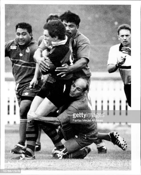 North Sydney Vs ManlyJim Allen tacked by David Starkey Villi Alaala Joa March 28 1992