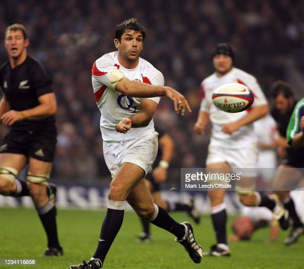 Rugby Union, England v New Zealand, England flanker Pat Sanderson passes the ball.