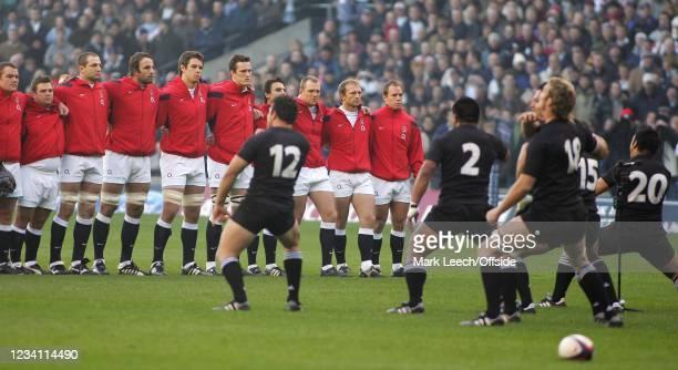 Rugby Union, England v New Zealand, New Zealand born Mark Van Gisbergen of England watches the All Blacks perform the haka.