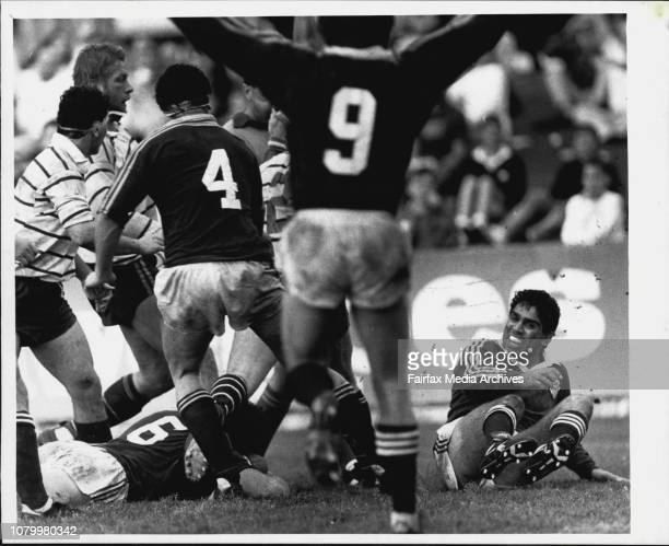 Rugby union grand final Randwick Vs Warringah at Concord Oval***** while his teammates including Glen Ella show their jubilationSeptember 17 1988