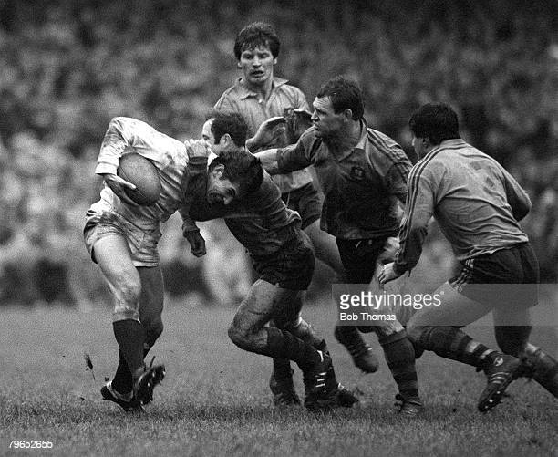 Rugby Union International, London, 2nd January 1982, England 15 v Australia 11, England's Paul Dodge is tackled by Australian scrum half John Hipwell