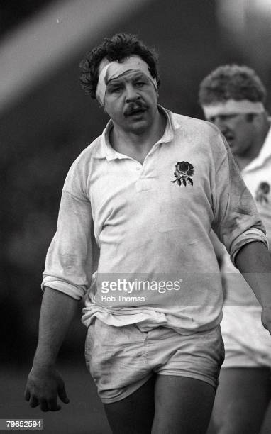 Rugby Union International Murrayfield Edinburgh 16th January 1982 Scotland 9 v England 9 England's Bill Beaumont