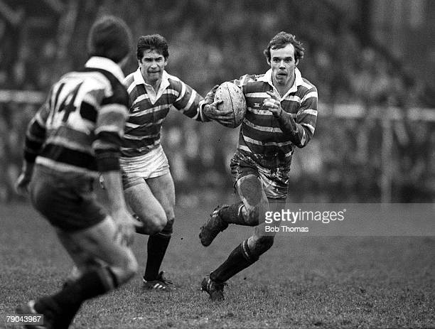 Rugby Union John Player Cup Franklins Gardens England 27th February 1982 Northampton Saints 10 v Leicester 23 Leicester's Clive Woodward runs with...