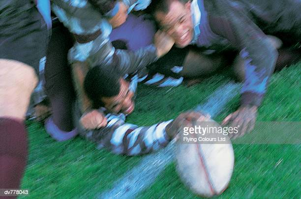 Rugby Union Player Scoring Under a Pile of Players