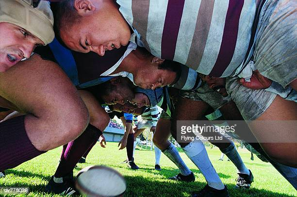 Rugby Union Players in a Scrum