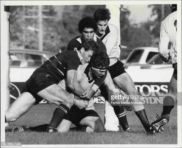 Sydney Vs NSW country at T G Millner FieldSydney players wrap up a Country attacker near the line in yesterday's annual clash at Millner Field May 04...