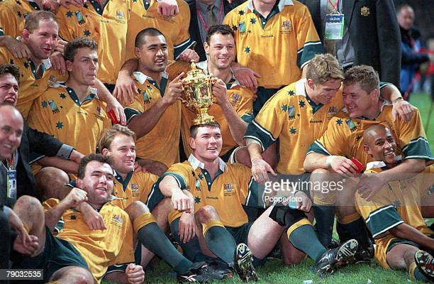 Rugby Union World Cup Final Cardiff 6th November Australia 35 v France 12 The Australian team celebrate their win with the WebbEllis trophy